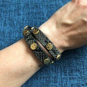 Tory Burch double wrap bracelet, snakeskin